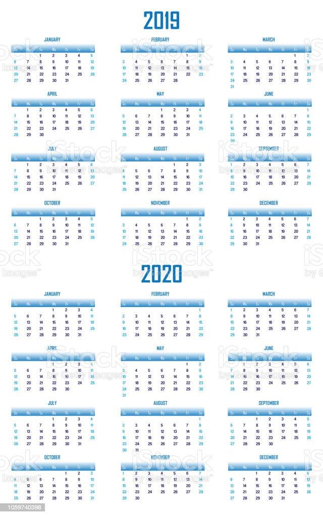 2019 and 2020 Modern Blue Calendar US Format stock photo