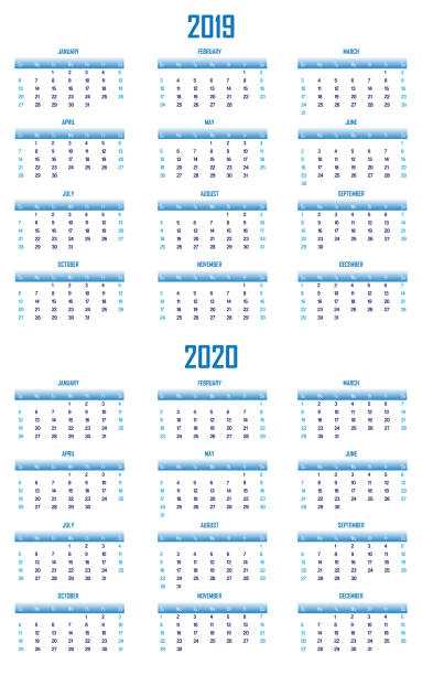 2019 and 2020 Modern Blue Calendar US Format stock photo