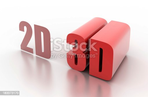 istock 2D and 3D: concept illustrated (isolated on white) 183373170