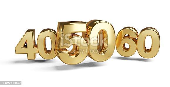 istock 50 and 40 golden 3d-illustration symbol 1135993842