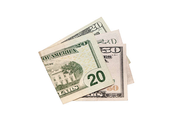 20 and 50 dollars on a white background - number 20 stock photos and pictures