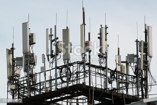 1145453438istockphoto 3G, 4G and 5G cellular antennas. Base Transceiver Station. Telecommunication tower. Wireless Communication Antenna Transmitters. 1157353612