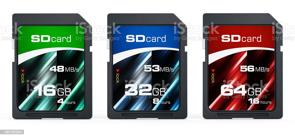 16, 32 and 64 GB generic SD cards stock photo