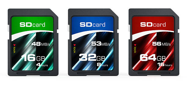 16, 32 and 64 gb generic sd cards - memory card stock photos and pictures
