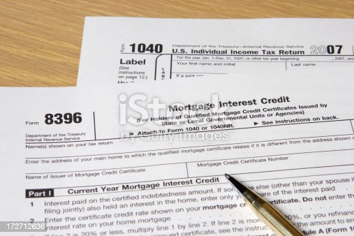 Us 1040 And 8396 Mortgage Interest Credit Stock Photo More