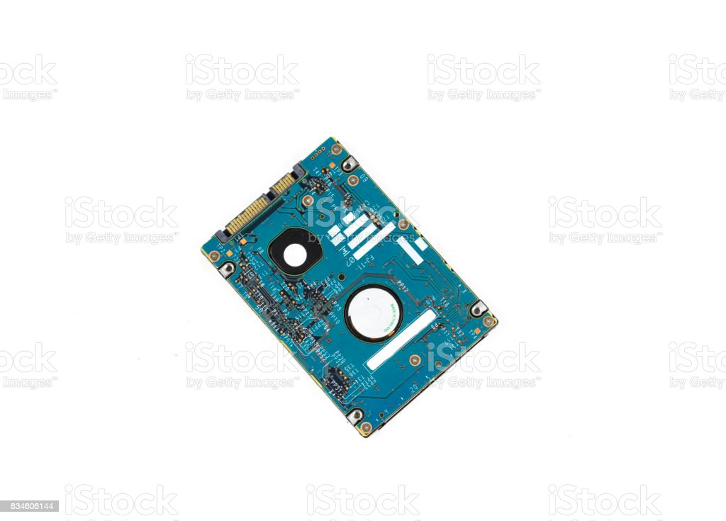 3 and a half in laptop hard disk drive with eposed circuitry stock photo