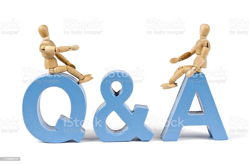 Q and A - Wooden Mannequin demonstrating this word stock photo