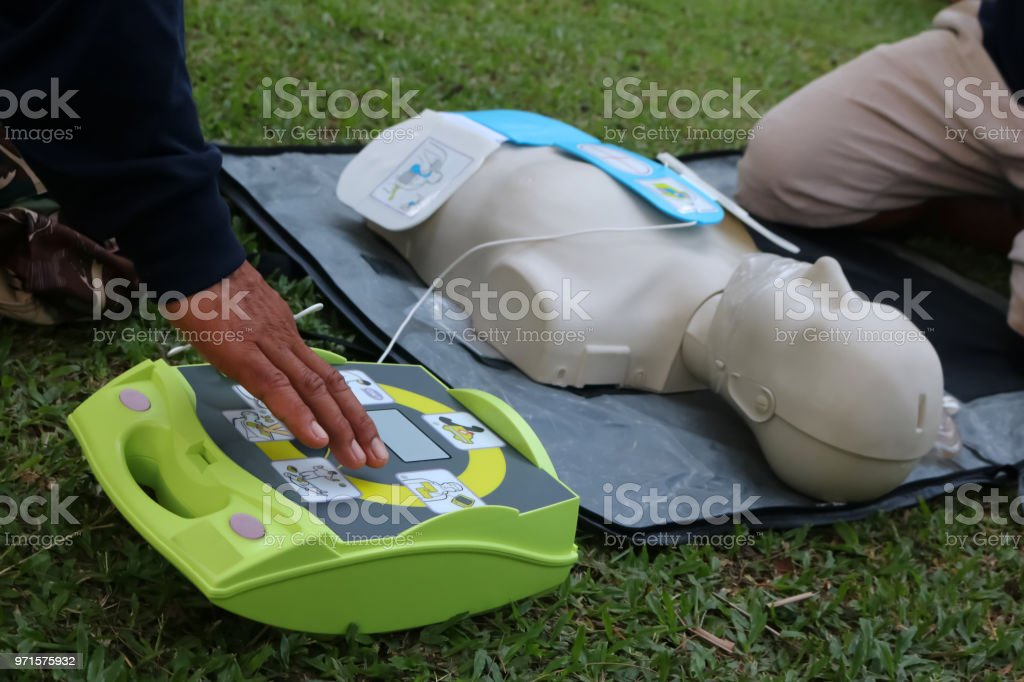CPR and AED training for Rescue and first aid stock photo