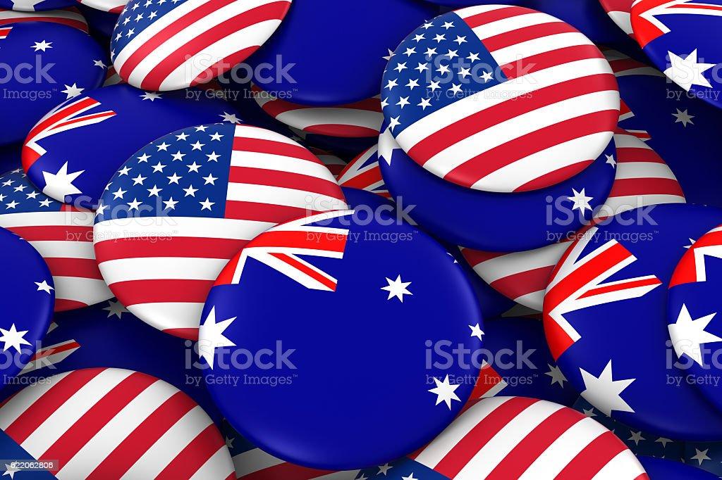 USA and Australia Flag Badges Background – Foto