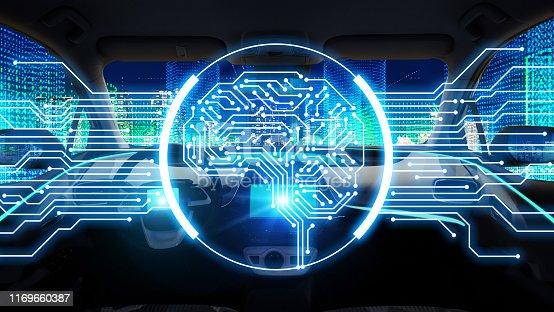 istock AI (Artificial Intelligence)  and autonomous car concept. Electronic circuit. Communication network. 1169660387