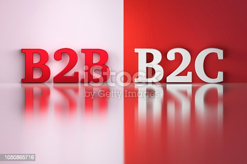 B2B and B2C words in white and red colors on the red and white reflective background. 3d illustration.