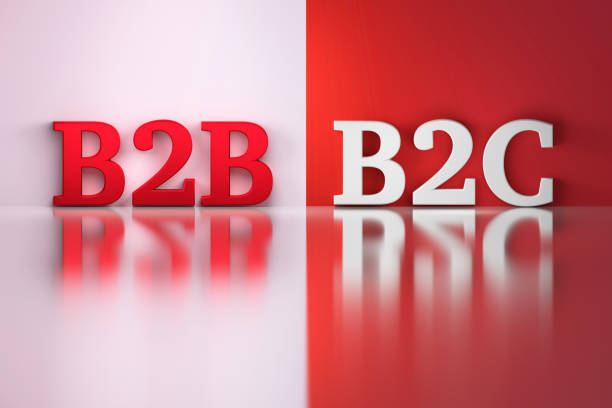 B2B and B2C words in white and red colors stock photo