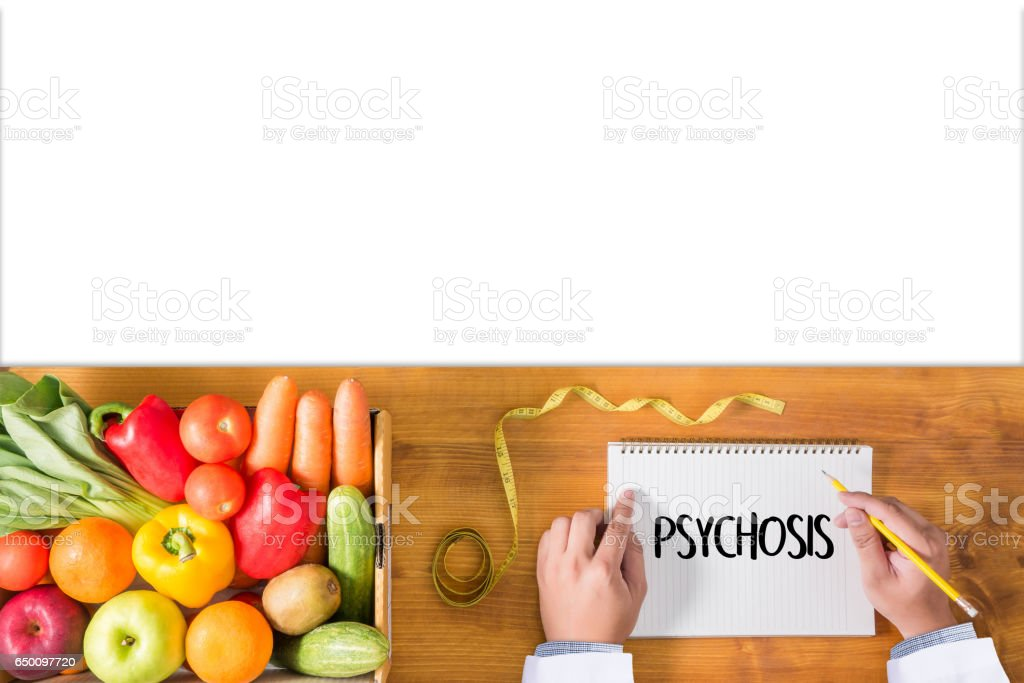 PSYCHOSIS and Background of Medicaments Composition, Stethoscope, mix therapy drugs doctor and selectfocus stock photo