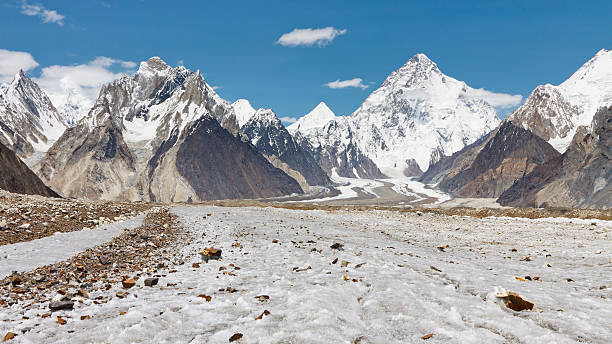 K2 and Baltoro Glacier, Pakistan stock photo