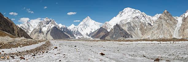 K2 and Baltoro Glacier Panorama stock photo