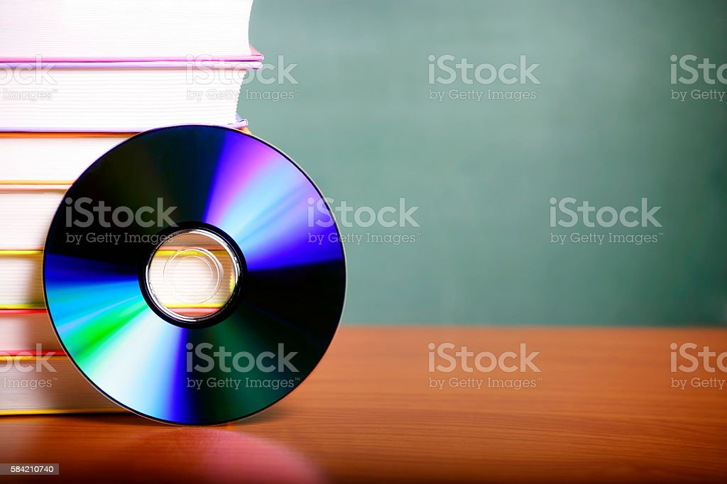 CD and books (digital audiobook concept) stock photo