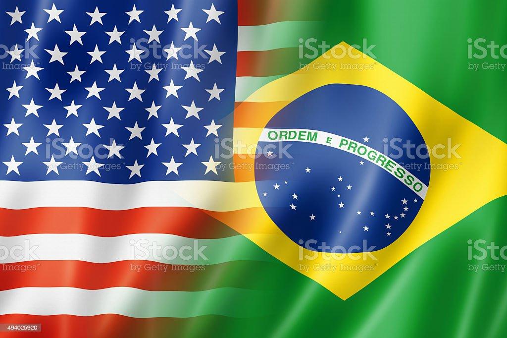Bandeira do EUA e Brasil - foto de acervo