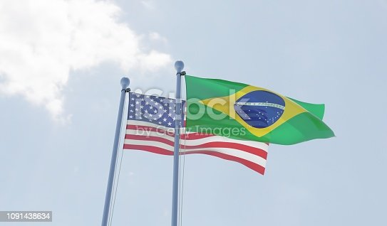 USA and Brazil, two flags waving against blue sky. 3d image