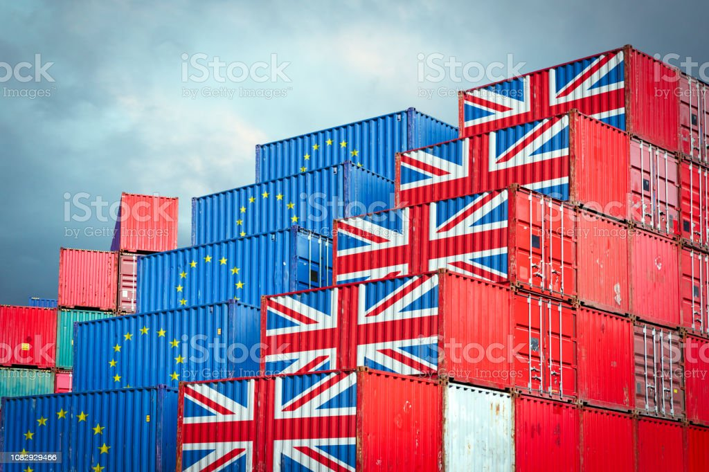 EU and British cargo containers stock photo