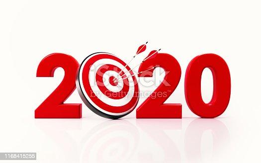 istock 2020 and Bulls Eye Target on White Background 1168415255