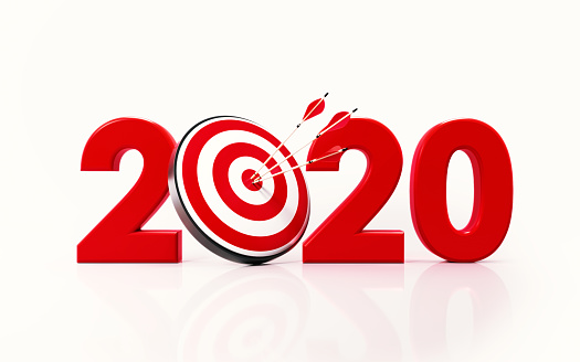 istock 2020 and Bulls Eye Target on White Background 1168415255