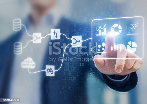 istock DMS and Business Analytics concept, connected dashboard, marketing KPI, businessman 855536628