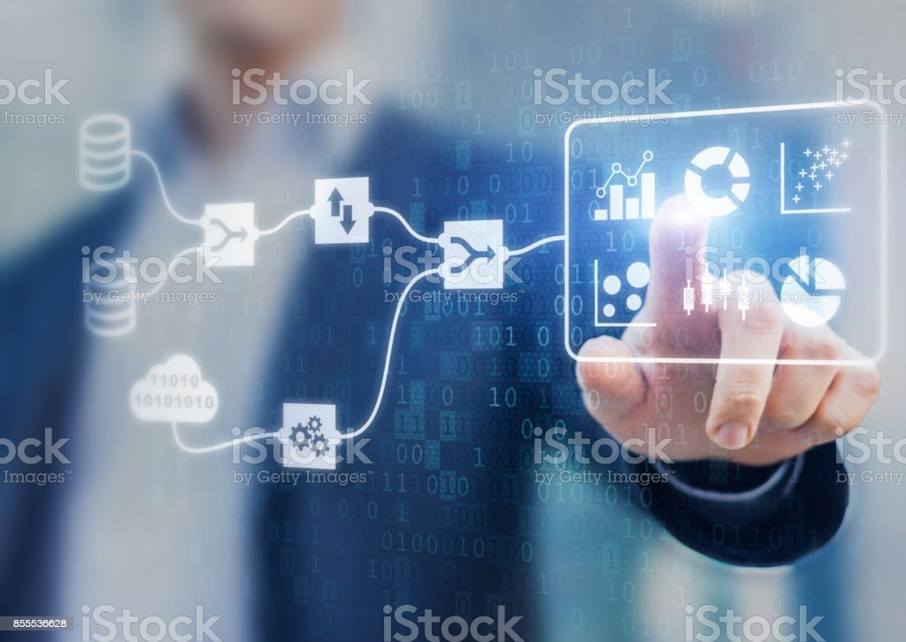 DMS and Business Analytics concept, connected dashboard, marketing KPI, businessman stock photo