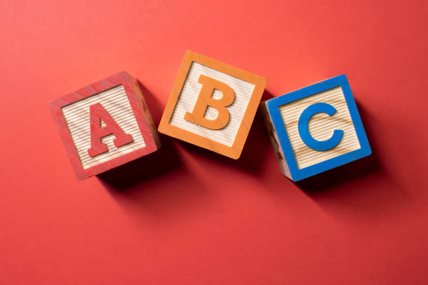 A, B and C wooden blocks stock photo