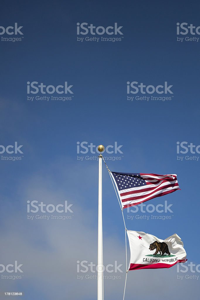 US and california flag state stock photo