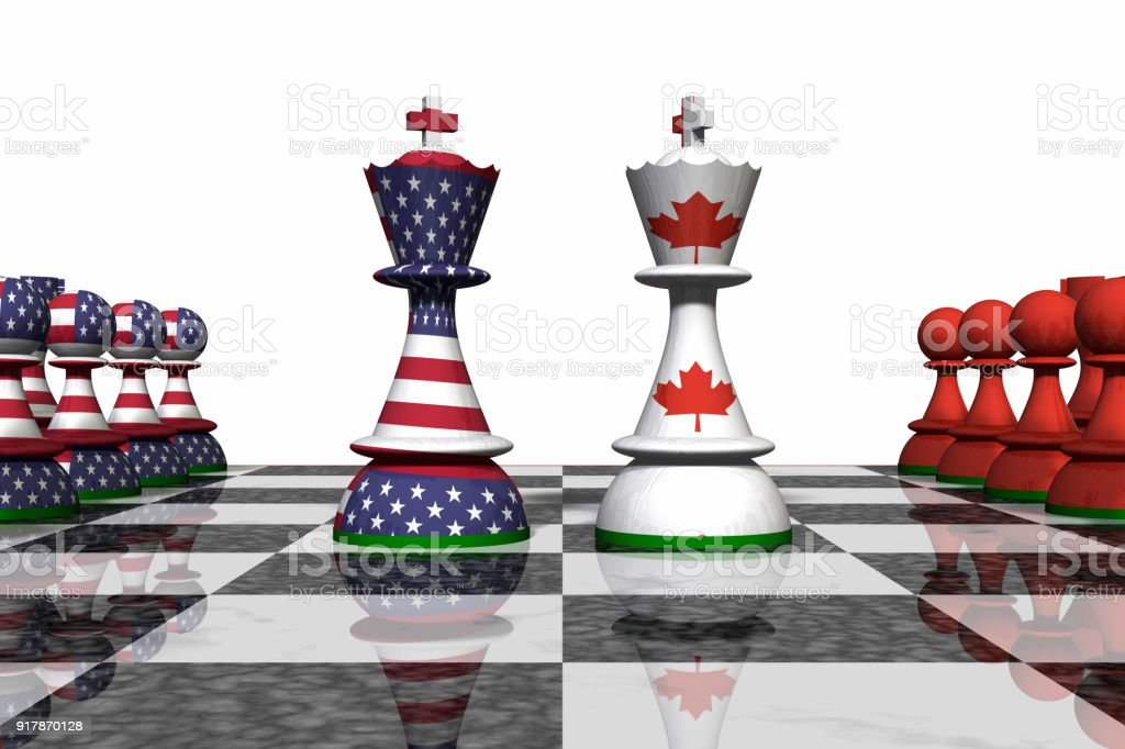 USA and Canada Chess Standoff stock photo