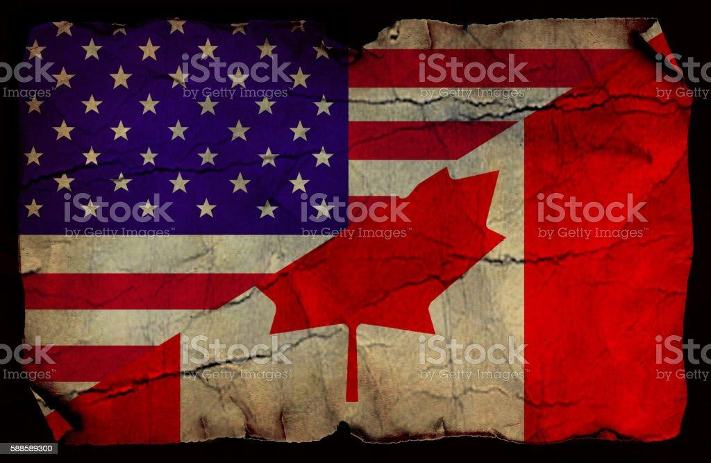 USA and Canada flag stock photo
