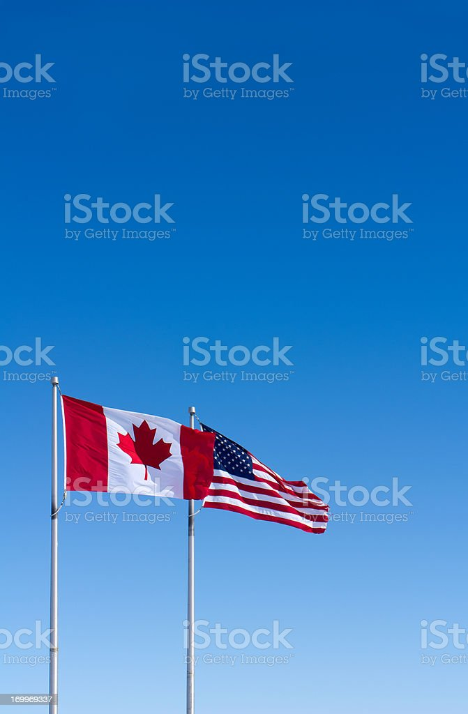 USA and Canada Flags royalty-free stock photo