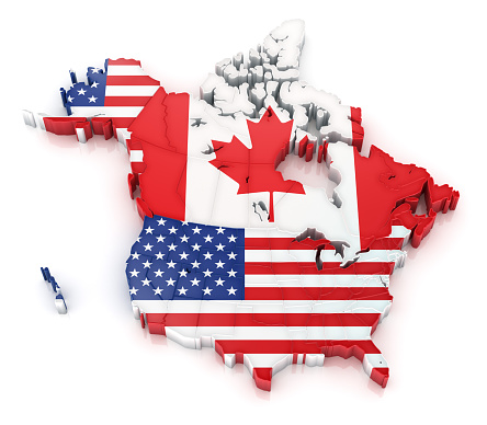 Map of USA and Canada with flags. (Administrative divisions also visible)