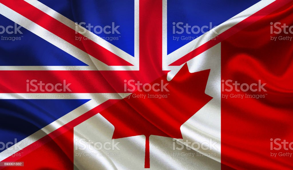 UK and Canadian flag stock photo