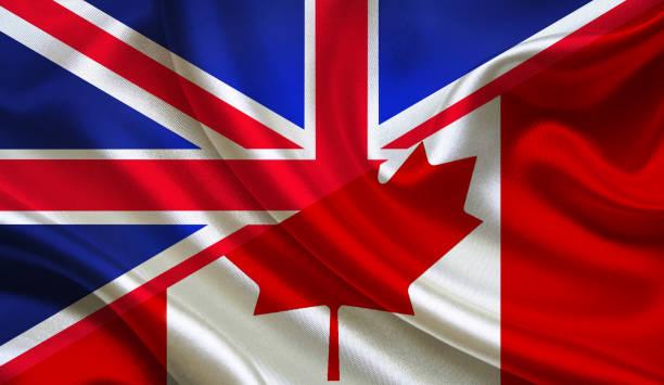 UK and Canadian flag stock photo