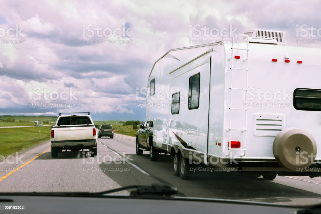 RV and cars Trip on road stock photo