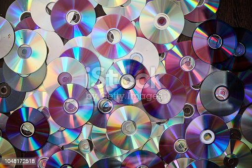 DVD and CD background. Old information disks