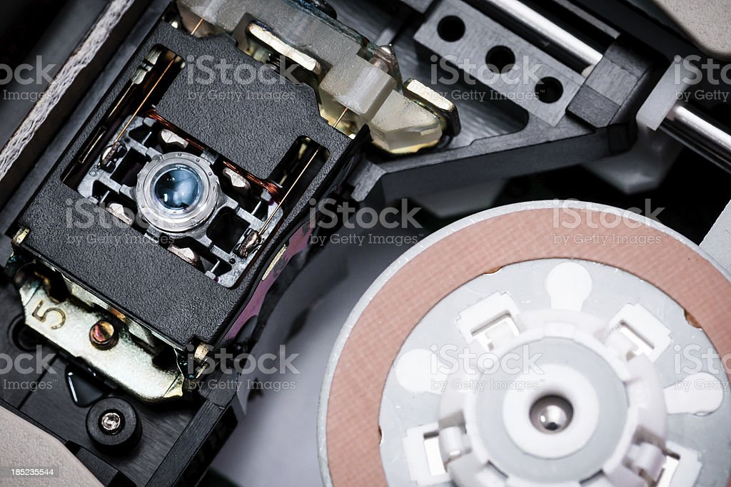 DVD and CD-ROM reading head with laser stock photo
