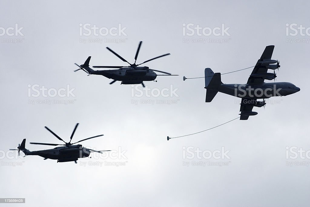 KC-130 and CH-53 flying in formation royalty-free stock photo