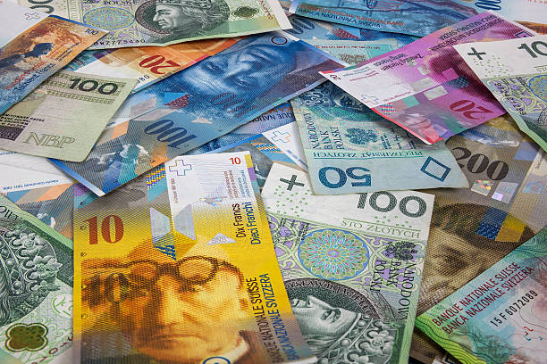 PLN and CHF banknotes as background stock photo