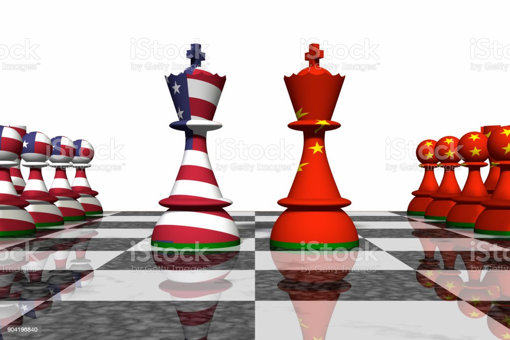 USA and China Chess Standoff stock photo