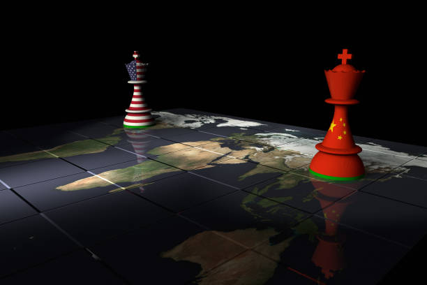 USA and China Chess Standoff Render of a chessboard decorated a map of the earth and with pieces decorated with the American and Chinese flags.  The Earth map is a public domain image from NASA's Visible Earth project: https://visibleearth.nasa.gov/view.php?id=73884 theasis stock pictures, royalty-free photos & images