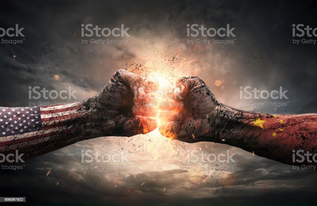 USA and China conflict concept stock photo