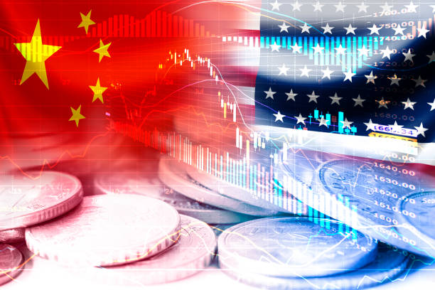 USA and China flag on coins and stock market chart .It is symbol of economic tariffs trade war and tax barrier between United States of America and China. USA and China flag on coins and stock market chart .It is symbol of economic tariffs trade war and tax barrier between United States of America and China. dealing cards stock pictures, royalty-free photos & images