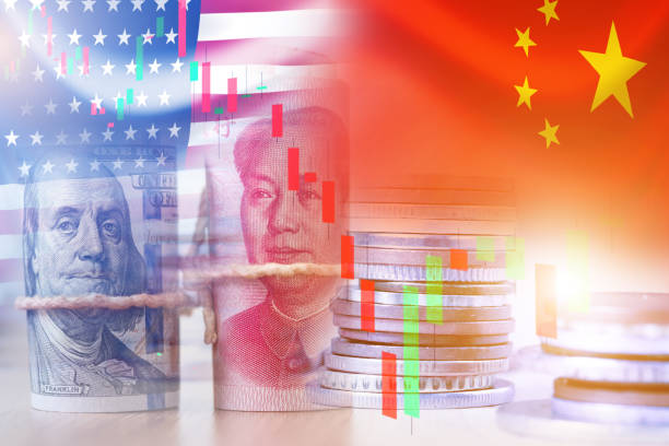 USA and China flag on coins and stock market chart .It is symbol of economic tariffs trade war and tax barrier between United States of America and China. USA and China flag on coins and stock market chart .It is symbol of economic tariffs trade war and tax barrier between United States of America and China. trade war stock pictures, royalty-free photos & images