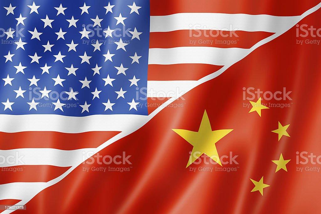USA and China flag royalty-free stock photo