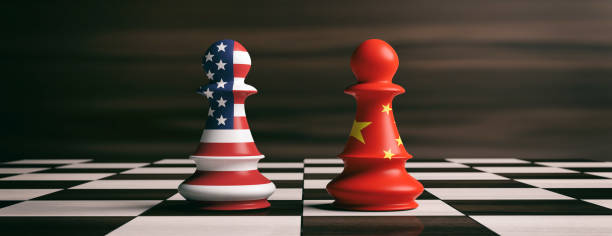 USA and China flags on chess pawns on a chessboard. 3d illustration USA and China cooperation concept. US America and China flags on chess pawns soldiers on a chessboard. 3d illustration conflict stock pictures, royalty-free photos & images