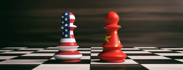 usa und china flaggen auf schachfiguren auf einem schachbrett. 3d illustration - konflikt stock-fotos und bilder