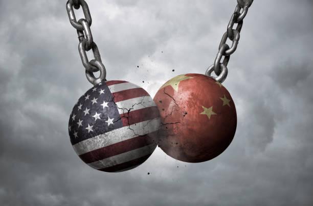 USA and China trade war concept stock photo