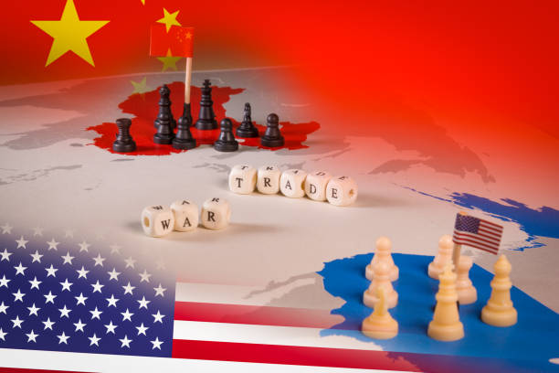 USA and China trade war concept with american flag and china flag. stock photo